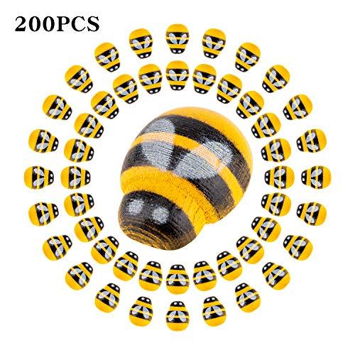 SAVITA 200 Pack Tiny Wooden Bee Flatback Embellishment Self-Adhesive Bee Stickers for Craft Scrapbooking DIY Decor, Baby Shower, Birthday, Party