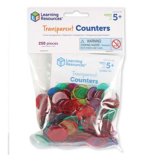 Learning Resources Transparent Counters, 250 Pieces, Multicolor