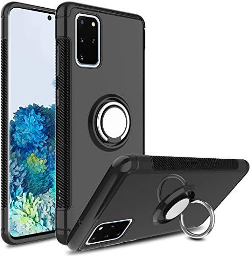 MaiJin Funda para Samsung Galaxy S20 Plus/Galaxy S20Plus 5G (6,7 Pulgadas) Multifunción Anillo sostenedor movil de 360 Grados con función de Soporte Rugged Armor Cover Case (Negro)