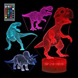 skonhed 3D Dinosaur Night Light for Kids,with Remote Control 16 Colors Changing and Smart Touch(4 Patterns) ,3D Illusion Lamp Nightnight Decor Christmas Birthday Gifts for Boys Girls(Without Battery)