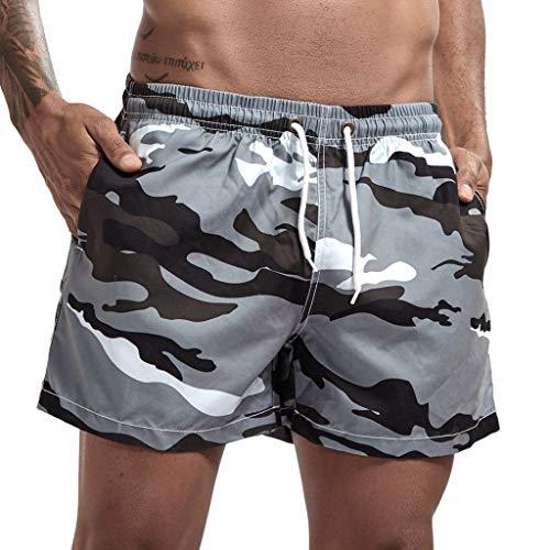 Yowablo Badeshorts für Herren Badehose Schwimmhose Badebekleidung Laufen Surfen Sport Strand Camouflage Shorts Trunks Board Pants (L,26Grau)