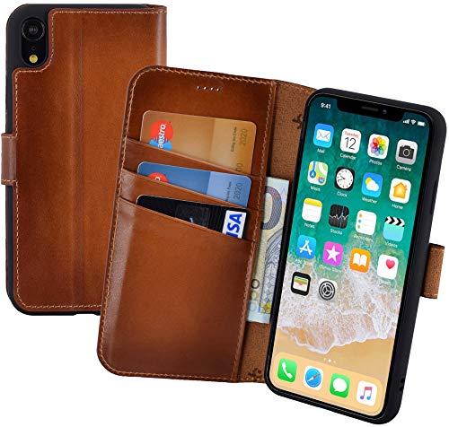 Suncase Book-Style echt lederen hoes voor iPhone XR beschermhoes mobiele telefoon case (Slim-Fit) wallet case, burned-cognac