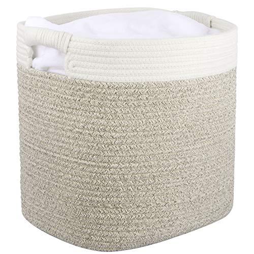 Cesta ropa sucia de algodón, cesta almacenaje de cuerda de algodón con mango, cesta ropa sucia bebe, grande, 40.5 cm(L)x33 cm(W) x 35.5 cm(H), Blanco y marrón claro