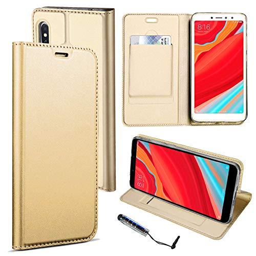 Guran® Funda de Cuero PU para Xiaomi Redmi S2 Smartphone Flip Case Construido en TPU con Función de Soporte con Ranura para Tarjetas Estilo de Negocios Cover - Oro