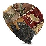 NUBOMINI - Gorro Estilo rústico con diseño de Oso de Alce y Ciervos, Negro, Talla única