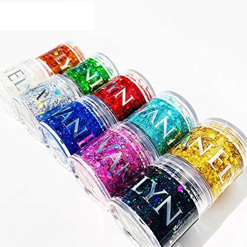 Bling Bling Nail Sequins Gel Glue Glitter gratuit pour Nail Art Design, Body Glitter Nail Glitter Glitter Fard à Paupières Sequins Gel Longue durée Nail Sticker Autocollant Glitter