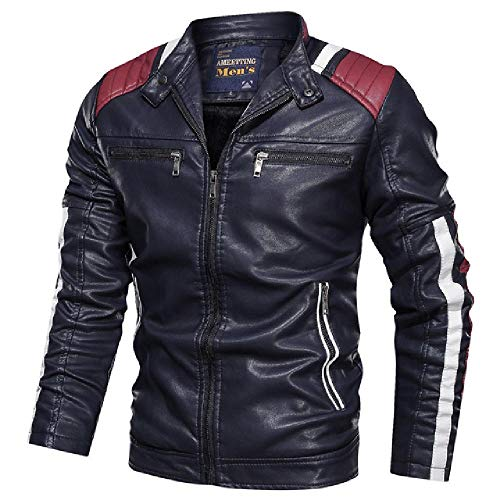 LILIZHAN Herfst Winter Leren Jas Mannen Jassen Straat Slim Fit Bomber Jas Casual Heren Fleece Warm Jas