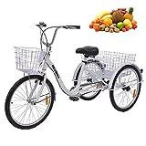 Série de tricycles pour adultes de 24 pouces, vélos à 3 roues à 7 vitesses pour tricycle adulte Trike Cruise Bike Panier de...