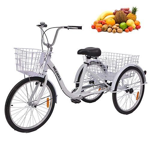 Serie de triciclos para adultos de 24 pulgadas, bicicletas de 7 velocidades y 3 ruedas para adultos, triciclo, triciclo, bicicleta de crucero, canasta de gran tamaño para recreación, compras, ejercic