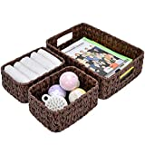 GRANNY SAYS Hand-Woven Storage Baskets, Imitation Wicker Baskets with Handles, Decorative Basket Set, Brown, Set of 3 (one Large, two Small)