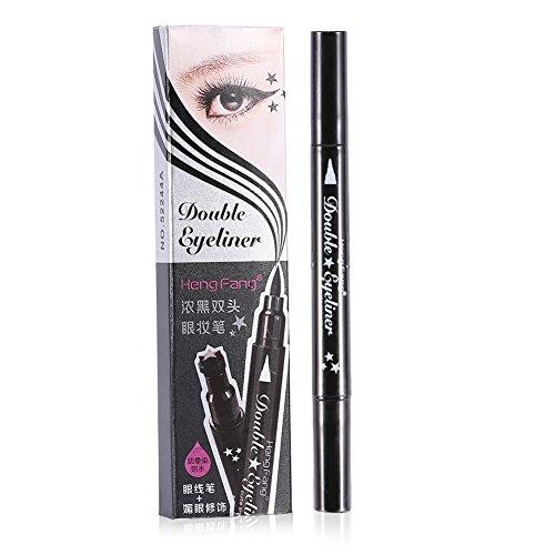 Crayon à crayons liquide à double tête durable de 4 styles, cosmétique de décoration d'oeil de timbre pratique(Cœur)