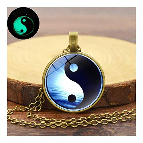AdorabFruit Présent Pendentif Declaración de Cristal Collar Colgante de Yin Yang de Taiji Perro...