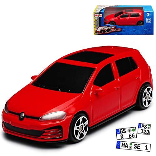 Maisto Volkwagen Golf VII GTI Rot Türer Ab 2012 1/64 Modell Auto mit individiuellem Wunschkennzeichen
