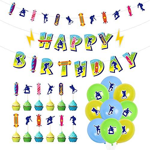 Xinqin 32pcs Geburtstag Party Dekoration Skateboard Cake Topper Kuchendeckel Alles Gute zum Geburtstag Banner Happy Birthday, Latex Ballon Helium Ballon Geburtstag Ballon für Mädchen Jungen Babyshower