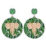 DJMJHG Pendientes Redondos de Resina para Mujer con Alfombrilla Pendientes de aleación de Zinc Elefante Pendientes Grandes Joyería de Moda RegalosGreen