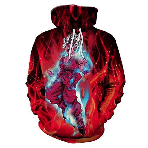KaAlin Explosion Model 3D Digital Printing Dragon Ball Anime Patroon Mannen Hooded Sweater met lange mouwen spot