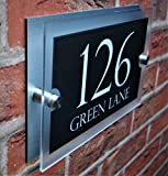 Dual Layer Stylish House Sign Plaque Door Number Street Name Clear Acrylic & DIBOND House Name