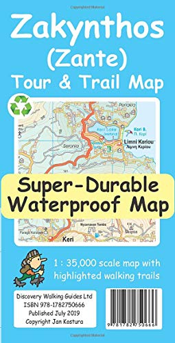Zakynthos (Zante) Tour & Trail Super-Durable Map