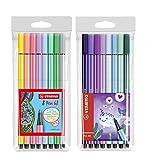 STABILO Pen 68 Premium-Filzstift (8er Pastell + 8er Narwhal)