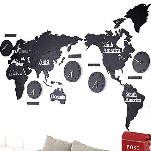Benfa Orologio da Parete Creativo 3D Mappa del Mondo in Legno Ampio Soggiorno Ufficio Camera da Letto Decorativo Orologio da Parete Orologio (Lunghezza 220 Cm * Altezza 105 Cm),#3,B