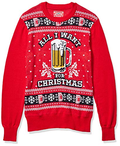 Hybrid Apparel Men's Sweater, Beer/Red, Large