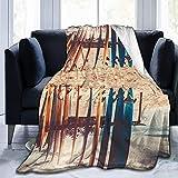Boards On the Beach Manta estampada ligera súper suave manta de micro forro polar para sofá, cama, sala de estar, sofá, silla, 152 x 127 cm