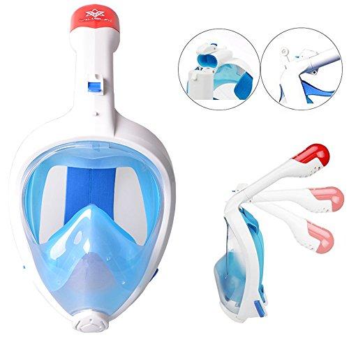 VILISUN Tauchmaske Vollgesichtsmaske, Easybreath Taucherbrille, Schnorchelmaske Anti-Fog und Anti-Leck-Technologie mit 181 Grad Blickfeld für alle Erwachsene und Kinder