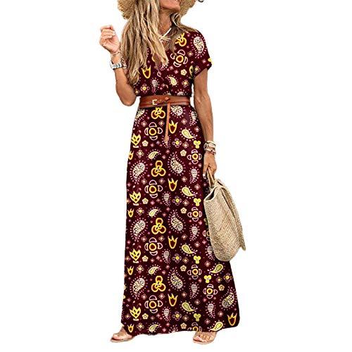 mothcattl Vestido largo de playa con cuello en V y manga corta, estampado de cachemira, dobladillo grande, para mujer, rojo vino, S