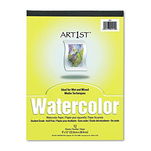 Pacon 4910 Artist Watercolor Paper Pad, 9 x 12, White, 12 Sheets