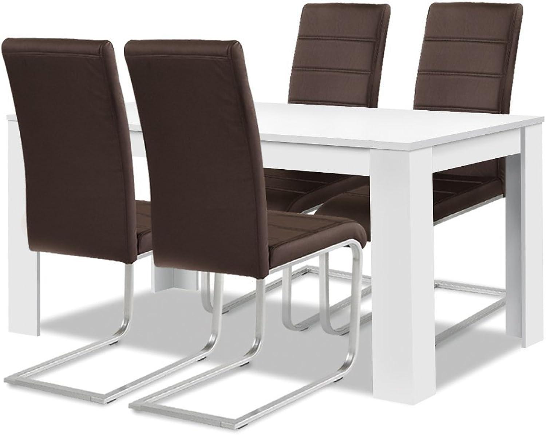 Agionda Esstisch + Stuhlset   1 x Esstisch Toledo Weiss 120 x 80 + 4 Freischwinger braun