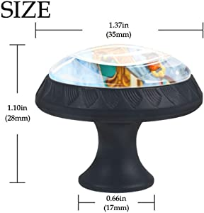 Carousel Glass 30mm Cabinet Knobs,4 Pack Drawer Door Pulls for Kitchen Bathroom Home Furniture Living Room