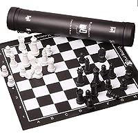 チェス、黒と白の正方形のチェス緑の革のチェス盤大人の磁気チェスパズルゲームポータブルストレージチューブ屋外エンターテイメント(チェス)