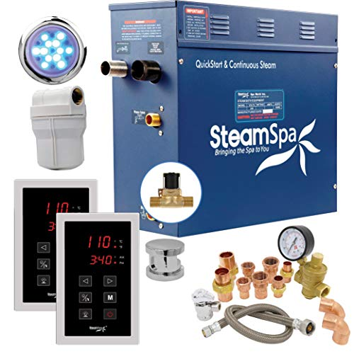 Steamspa executive 9 kw quickstart acu-steam bath generator package with built-in auto drain in polished chrome   steam generator kit with dual control panel steamhead 240v   ext900ch-a