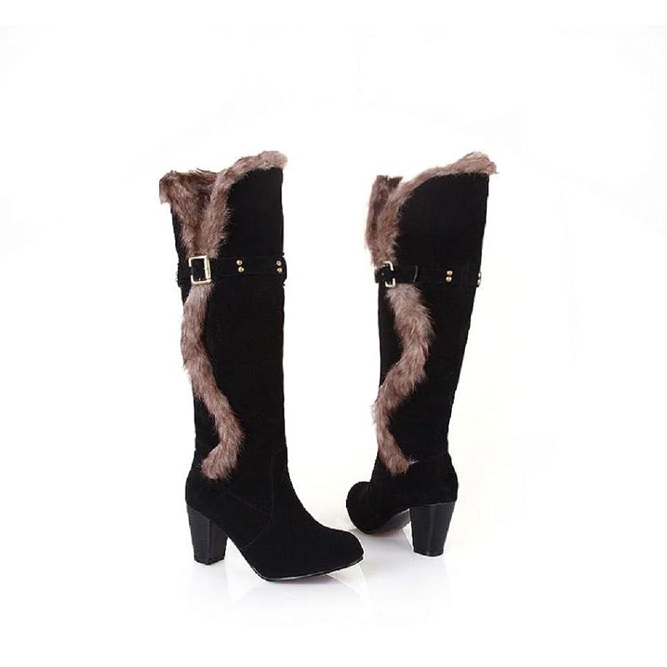 曇ったアンビエントほとんどの場合[Charm Foot] チャーム足ファッションフェイクファー女性用高ヒール膝丈雪ブーツ