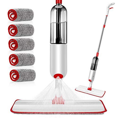 MASTERTOP Spray Mop Sprühwischer mit 500 ml Wassertank und 5 Mikrofaser-Pads, Wischer mit Sprühfunktion, Bodenwischer für Hartholz, Fliesen, Laminat, Marmor (Rot, Weiß)