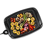 Elite Gourmet Maxi-Matic EGL-3450 Indoor Electric BBQ Grill Nonstick Surface Adjustable Temperature Fast Heat Up Ideal For Low-Fat Meals, Dishwasher Safe, 13', Black