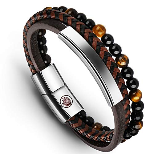 Casisto.J Bracelet homme - Homme Cuir Véritable Bracelet et Acier Inoxydable Bracelet (Brown, 20)