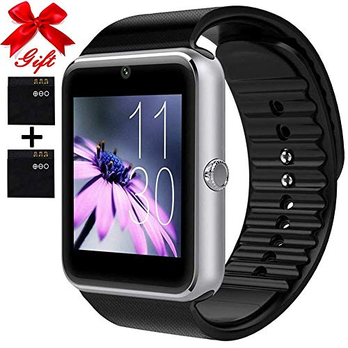 Smart Watch for Android Phones with SIM Card Slot Camera, Bluetooth Watch Phone Touchscreen Compatible iOS Phones, Smart Fitness Watch with Sleep Monitor sedentary for Men Women Kids (silverB) …