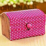 ARMAC Caja de almacenamiento de joyería retro creativa de bambú para cortinas de gran capacidad, para anillos, pendientes, collares, caja de almacenamiento, color rojo rosa