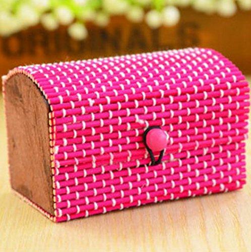 Aidou Pequeña caja organizadora de joyas de bambú para joyas, caja de regalo (colorido)
