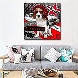 ganlanshu Arte de la Pared Abstracto Animal de Dibujos Animados Perro música Imagen Cartel decoración de la habitación de los niños,Pintura sin Marco,40X40cm
