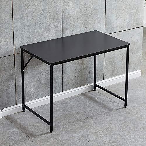 Saadiya - Mesa de estudio simple para ordenador portátil, escritorio de oficina, para adultos, niños, estudiantes, 100 x 60 x 75 cm (escritorio negro con patas negras)
