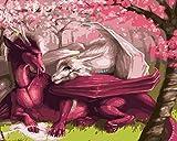 DAPAIZI Niños Adultos Principiantes Pintar por número Pintura al óleo de Bricolaje Amor Digital dragón Rojo Lienzo Arte de la Pared decoración del hogar 16 x 20 Pulgadas (sin Marco)
