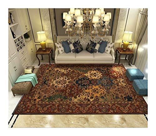 Alfombra para Sala de Estar Alfombra de impresión Retro Alfombra de decoración del hogar Europea Alfombras de Dormitorio con Estampado Vintage Alfombras de salón clásicas Europeas