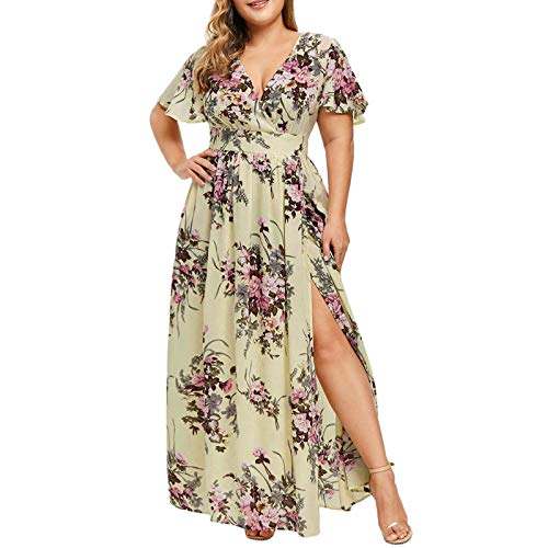 FQZWONG Women's Plus Size Wrap V-Neck Floral Print Short Sleeves Dress Fashion Casual Maxi Dress for Party Dating (C-Yellow,3X-Large)