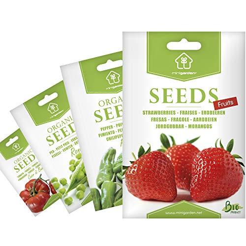 """Semillas Ecológicas Minigarden, Selección FRUTAS: Fresas, Pimientos\""""Padron\"""", Guisantes y Tomate\""""Cuor di bue\"""""""