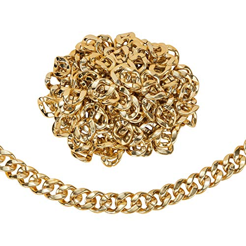 LiQunSweet 200 Pcs Plastic CCB Acrylic Linking Rings Quick Link Curb Gold Metal Color Twist Chains Connectors for Jewelry Making Chainlink Toys Decoration Prop - 40x33mm