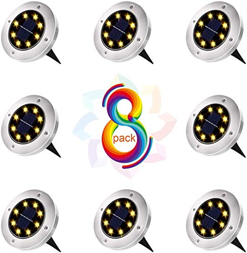Solar Bodenleuchten, 8 LEDs Solar Bodenleuchten,Aussen Solar Gartenleuchten, IP65 Wasserdicht Solarlampe, Geeignet für Gärten,Solarlicht Garten Licht für Rasen/Auffahrt/Gehweg (8Stk)