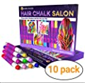 Desire Deluxe Hair Chalk Gift for Girls - 10 Temporary Non-Toxic Easy Washable Hair Dye Colourful, Metallic, Glitter Pens - Great Games Birthday Girls