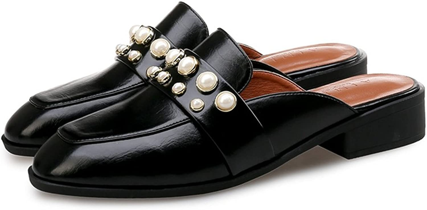 T-JULY Penny Loafers shoes for Women -Fashion Slip On Low-Heel Square Toe Casual Slippers